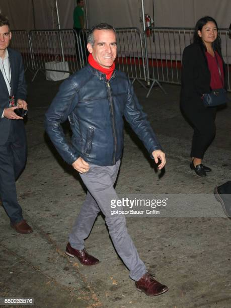 Eric Garcetti is seen arriving at 86th Annual Hollywood Christmas Parade on November 26 2017 in Los Angeles California