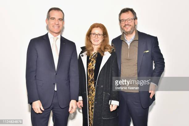 Eric Garcetti Manuela Wirth and Iwan Wirth attend Hauser Wirth Los Angeles Opening of Annie Leibovitz and Piero Manzoni and Musical Performance by...