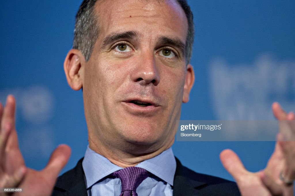 Eric Garcetti, mayor Los Angeles, speaks during a panel discussion at the Infrastructure Week kickoff event at the U.S. Chamber of Commerce in Washington, D.C., U.S., on Monday, May 15, 2017. States and localities that have secured some funding and financing of their own for infrastructure work will be given higher priority access to federal funds under President Trump's forthcoming plan, Transportation Secretary Elaine Chao said during her speech at the event. Photographer: Andrew Harrer/Bloomberg via Getty Images
