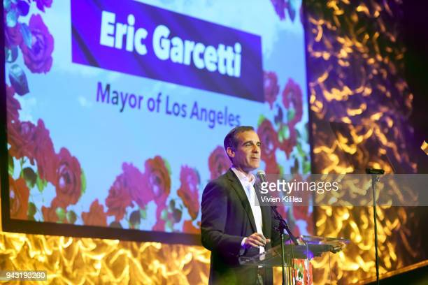 Eric Garcetti Mayor of Los Angeles speaks onstage at the My Friend's Place 30th Anniversary Gala at Hollywood Palladium on April 7 2018 in Los...