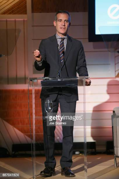 Eric Garcetti speaks at EMA Impact Summit Presented by Toyota Mirai at Montage Beverly Hills on March 23 2017 in Beverly Hills California