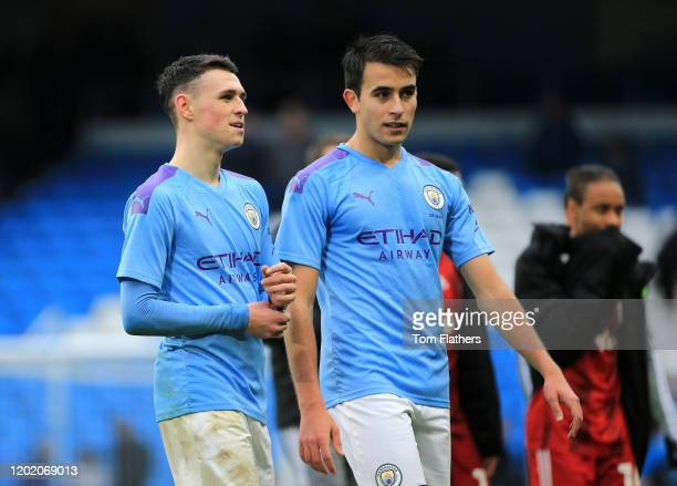 Eric Garcia and Phil Foden of Manchester City during the FA Cup Fourth Round match between Manchester City and Fulham at Etihad Stadium on January 26...