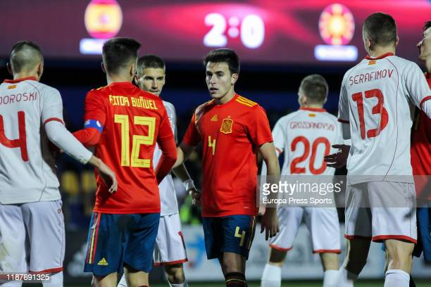 Eric Garcia Martret, player of Spain Under-21, and Aitor Bunuel Redrado, player of Spain Under-21, wait for corner during the Eurocup Qualifiers...