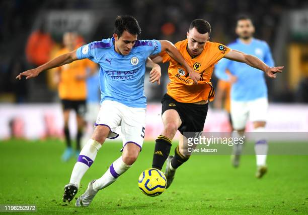 Eric Garcia of Manchester City and Diogo Jota of Wolverhampton Wanderers during the Premier League match between Wolverhampton Wanderers and...