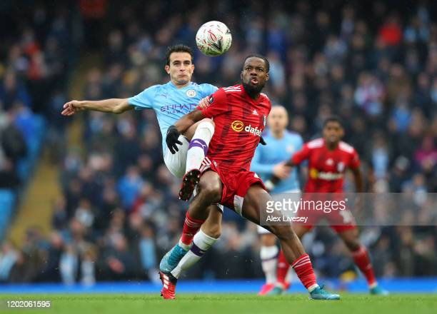 Eric Garcia of Manchester City and Josh Onomah of Fulham battle for the ball during the FA Cup Fourth Round match between Manchester City and Fulham...