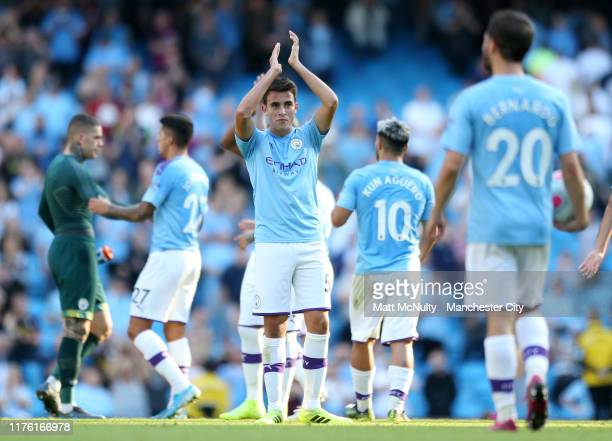 Eric Garcia of Manchester City applauds the fans after the Premier League match between Manchester City and Watford FC at Etihad Stadium on September...