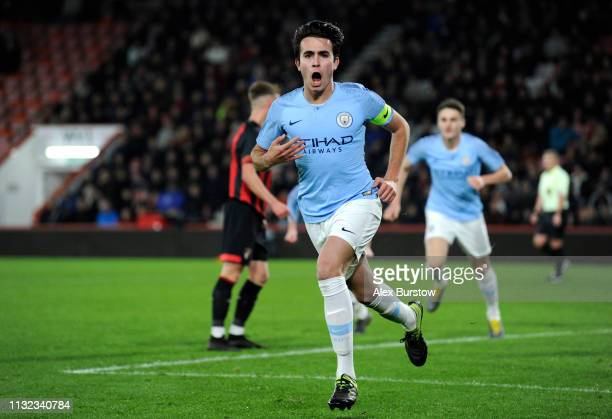 Eric Garcia of Manchester City celebrates scoring his team's second goal during the FA Youth Cup Sixth Round Match between AFC Bournemouth U18 and...