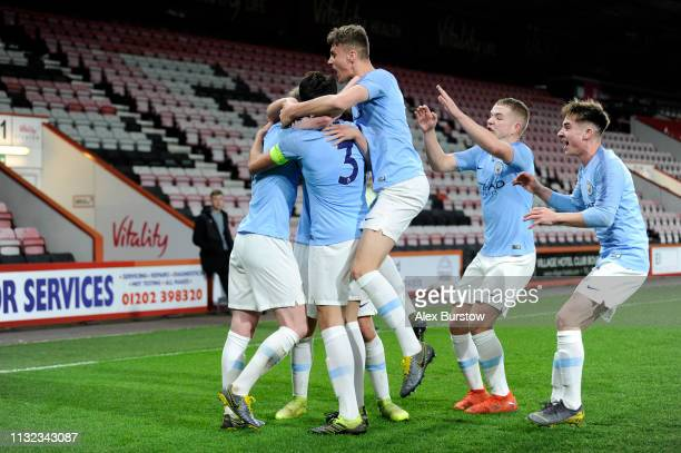 Eric Garcia of Manchester City celebrates with teammates after scoring his team's second goal during the FA Youth Cup Sixth Round Match between AFC...