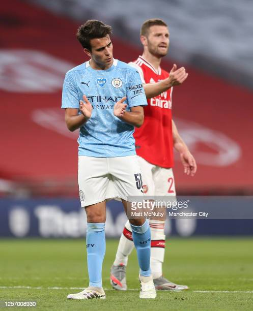 Eric Garcia of Manchester City encourages his teammates during the FA Cup Semi Final match between Arsenal and Manchester City at Wembley Stadium on...
