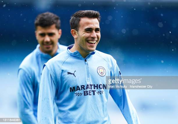 Eric Garcia of Manchester City in action during the Premier League match between Manchester City and Leeds United at Etihad Stadium on April 10, 2021...