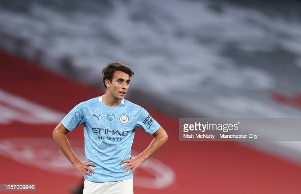 Eric Garcia of Manchester City looks on during the FA Cup Semi Final match between Arsenal and Manchester City at Wembley Stadium on July 18 2020 in...