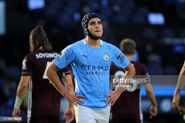 Eric Garcia of Manchester City reacts during the Premier League match between Manchester City and Leicester City at Etihad Stadium on September 27,...