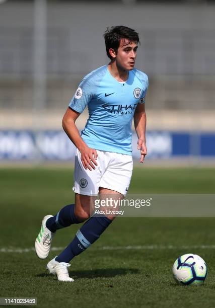 Eric Garcia of Manchester City runs with the ball during the Premier League 2 match between Manchester City and Everton at The Academy Stadium on...