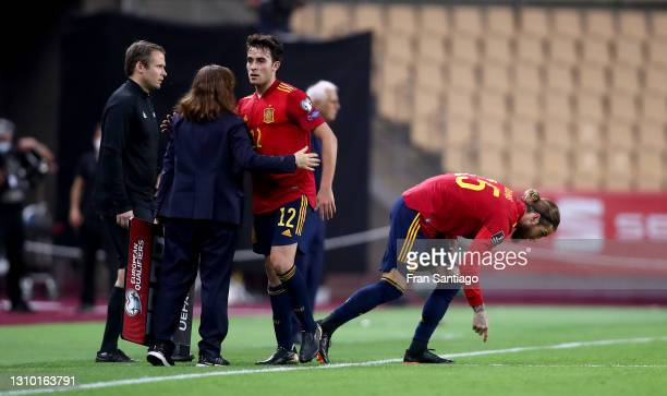Eric Garcia of Spain is replaced by team mate Sergio Ramos during the FIFA World Cup 2022 Qatar qualifying match between Spain and Kosovo at Estadio...