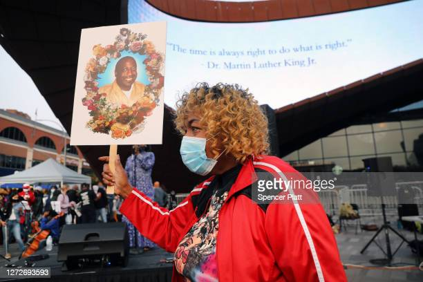 Eric Garner's mother Gwen Carr attends a commemoration to celebrate the birthday of Eric Garner at the Barclay's Center in Brooklyn on September 15...