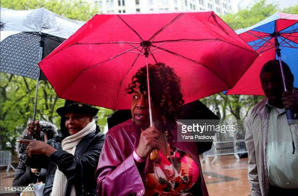 Eric Garner's mother Gwen Carr enters 1 Police Plaza before Officer Daniel Pantaleo's trial begins on May 13 2019 in New York City Officer Pantaleo...