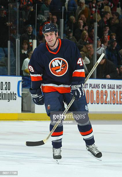 Eric Godard of the New York Islanders skates during the game against the Colorado Avalanche at the Nassau Coliseum on December 17, 2005 in Uniondale,...