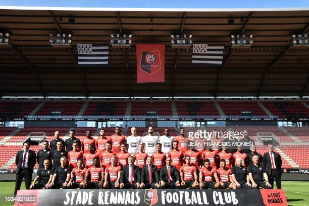 Eric Gontier physiotherapist Gregory Gaillard fitness trainer Rennes' French midfielder James Lea Siliki Rennes' Malian midfielder Yacouba Sylla...
