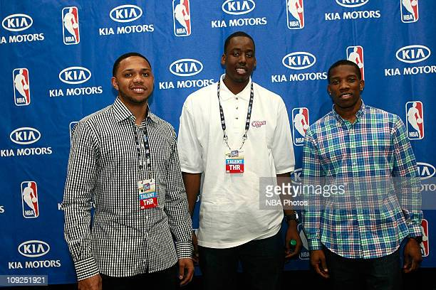 Eric Gordan, Al-Farouq Aminu, Eric Bledoe of the LA Clippers pose during an autograph session in the Kia MVP Cout at Jam Session presented by Adidas...