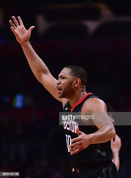 Eric Gordon of the Houston Rockets argues for a foul during a 113102 LA Clippers win at Staples Center on January 15 2018 in Los Angeles California
