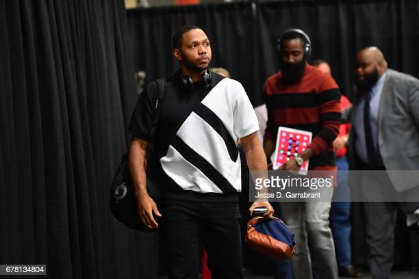 Eric Gordon of the Houston Rockets arrives before the game against the San Antonio Spurs during Game Two of the Western Conference Semifinals of the...