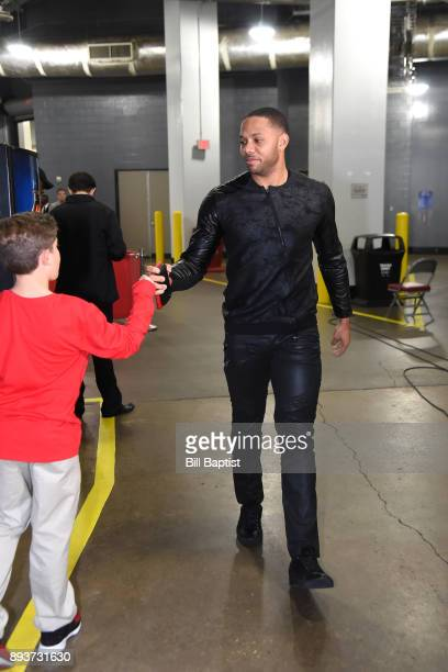 Eric Gordon of the Houston Rockets arrives before the game against the San Antonio Spurs on December 15 2017 at the Toyota Center in Houston Texas...