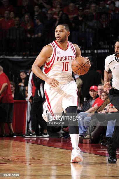 Eric Gordon of the Houston Rockets brings the ball up court during the game against the Washington Wizards on January 2 2017 at the Toyota Center in...