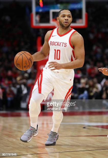 Eric Gordon of the Houston Rockets brings the ball up the court against the Chicago Bulls at the United Center on January 8 2018 in Chicago Illinois...