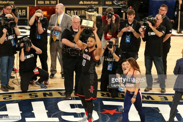 Eric Gordon of the Houston Rockets celebrates his victory during the JBL ThreePoint Contest during State Farm AllStar Saturday Night as part of the...