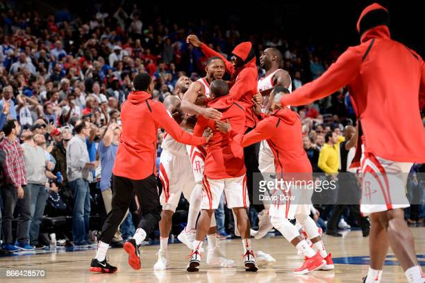 Eric Gordon of the Houston Rockets celebrates with his teammates after the game against the Philadelphia 76ers on October 25 2017 at the Wells Fargo...