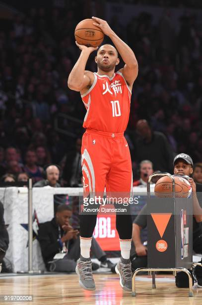 Eric Gordon of the Houston Rockets competes in the 2018 JBL ThreePoint Contest at Staples Center on February 17 2018 in Los Angeles California