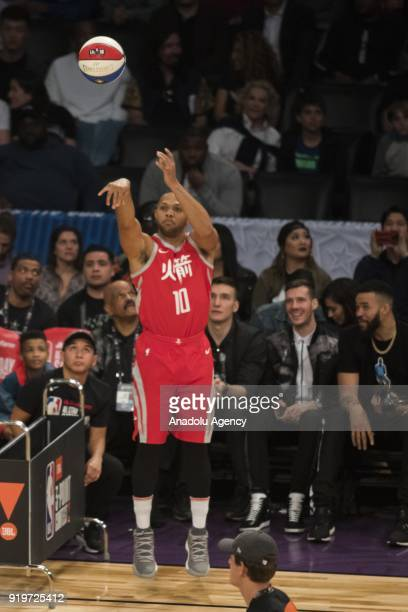 Eric Gordon of the Houston Rockets competes in the JBL ThreePoint Contest during State Farm AllStar Saturday Night as part of AllStar Weekend at the...