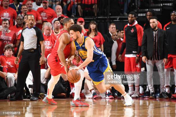 Eric Gordon of the Houston Rockets defends Klay Thompson of the Golden State Warriors during Game Six of the Western Conference Semifinals of the...