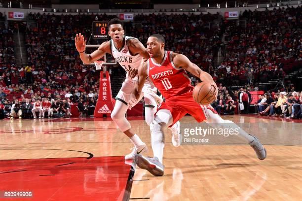 Eric Gordon of the Houston Rockets drives to the basket against Giannis Antetokounmpo of the Milwaukee Bucks on December 16 2017 at the Toyota Center...