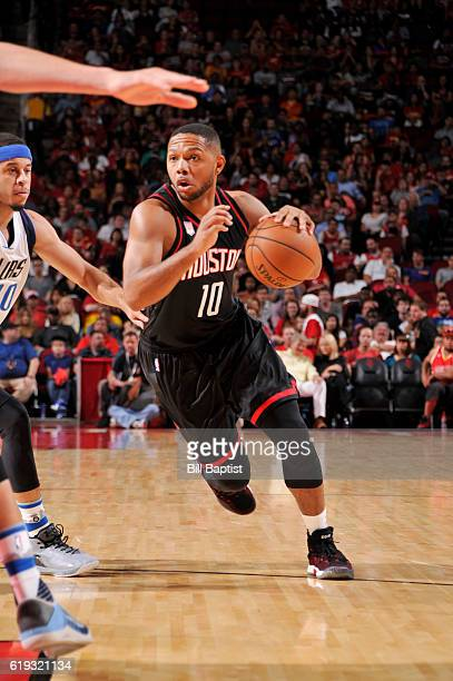 Eric Gordon of the Houston Rockets drives to the basket during a game against the Dallas Mavericks on October 30 2016 at the Toyota Center in Houston...