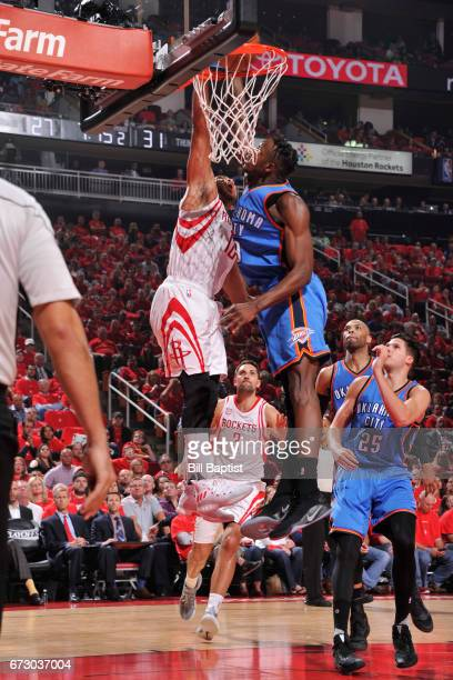 Eric Gordon of the Houston Rockets dunks against the Oklahoma City Thunder in Game Five of the Western Conference Quarterfinals of the 2017 NBA...
