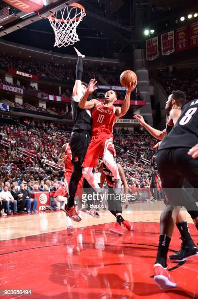 Eric Gordon of the Houston Rockets dunks against the Portland Trail Blazers on January 10 2018 at the Toyota Center in Houston Texas NOTE TO USER...