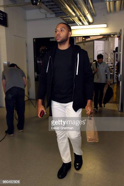 Eric Gordon of the Houston Rockets enters the arena before the game against the Minnesota Timberwolves in Game Four of Round One of the 2018 NBA...