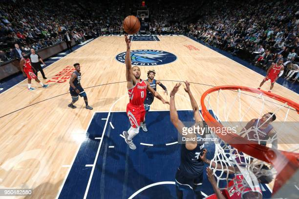 Eric Gordon of the Houston Rockets goes to the basket against the Minnesota Timberwolves in Game Four of Round One of the 2018 NBA Playoffs on April...