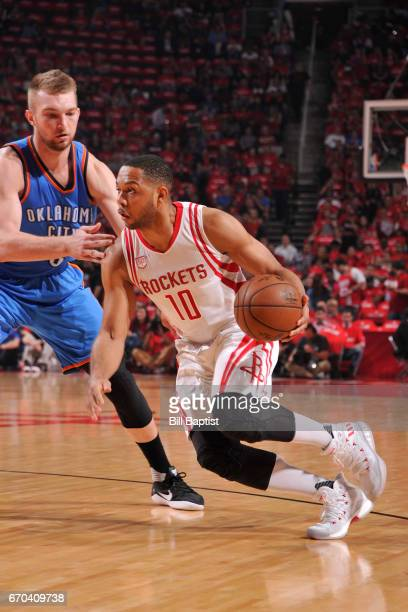 Eric Gordon of the Houston Rockets handles the ball against the Oklahoma City Thunder during Game Two of the Western Conference Quarterfinals of the...