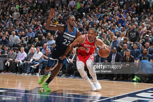 Eric Gordon of the Houston Rockets handles the ball against the Minnesota Timberwolves in Game Three of Round One of the 2018 NBA Playoffs on April...