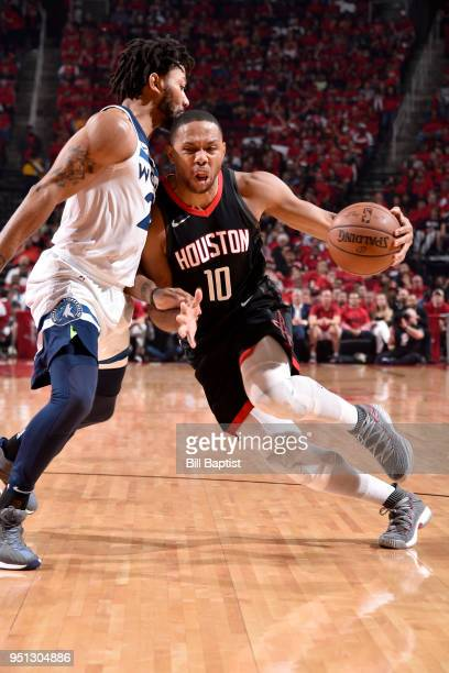 Eric Gordon of the Houston Rockets handles the ball against the Minnesota Timberwolves in Game Five of the Western Conference Quarterfinals during...