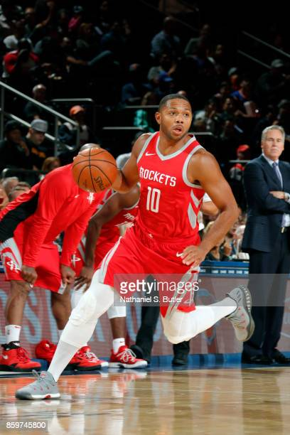 Eric Gordon of the Houston Rockets handles the ball against the New York Knicks during the preseason game on October 9 2017 at Madison Square Garden...
