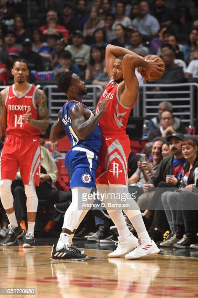 Eric Gordon of the Houston Rockets handles the ball against the LA Clippers on October 21 2018 at Staples Center in Los Angeles California NOTE TO...