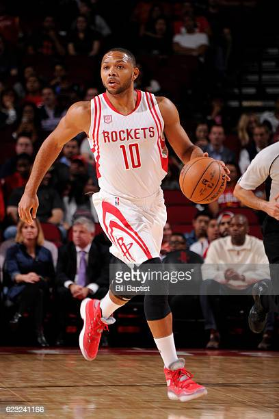 Eric Gordon of the Houston Rockets handles the ball against the Philadelphia 76ers on November 14 2016 at the Toyota Center in Houston Texas NOTE TO...