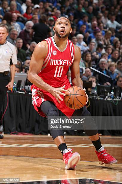 Eric Gordon of the Houston Rockets handles the ball against the Minnesota Timberwolves on December 17 2016 at Target Center in Minneapolis Minnesota...