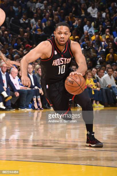 Eric Gordon of the Houston Rockets handles the ball against the Golden State Warriors on March 31 2017 at ORACLE Arena in Oakland California NOTE TO...