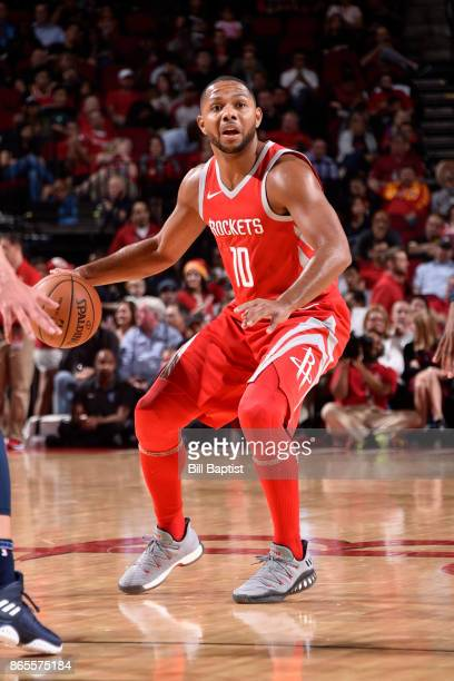 Eric Gordon of the Houston Rockets handles the ball against the Memphis Grizzlies on October 23 2017 at the Toyota Center in Houston Texas NOTE TO...