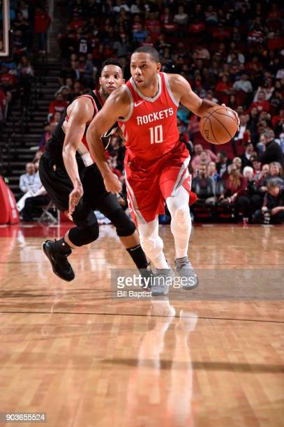 Eric Gordon of the Houston Rockets handles the ball against the Portland Trail Blazers on January 10 2018 at the Toyota Center in Houston Texas NOTE...