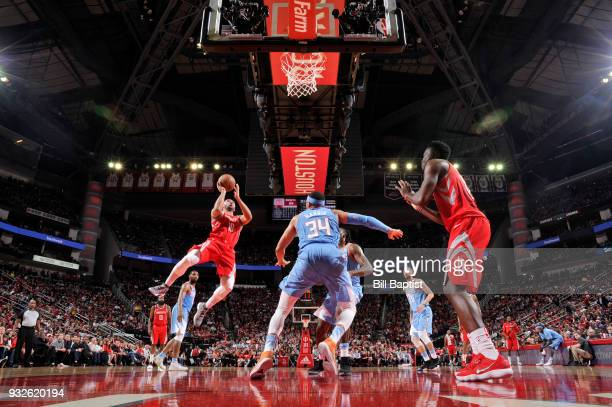 Eric Gordon of the Houston Rockets handles the ball against the LA Clippers on March 15 2018 at the Toyota Center in Houston Texas NOTE TO USER User...